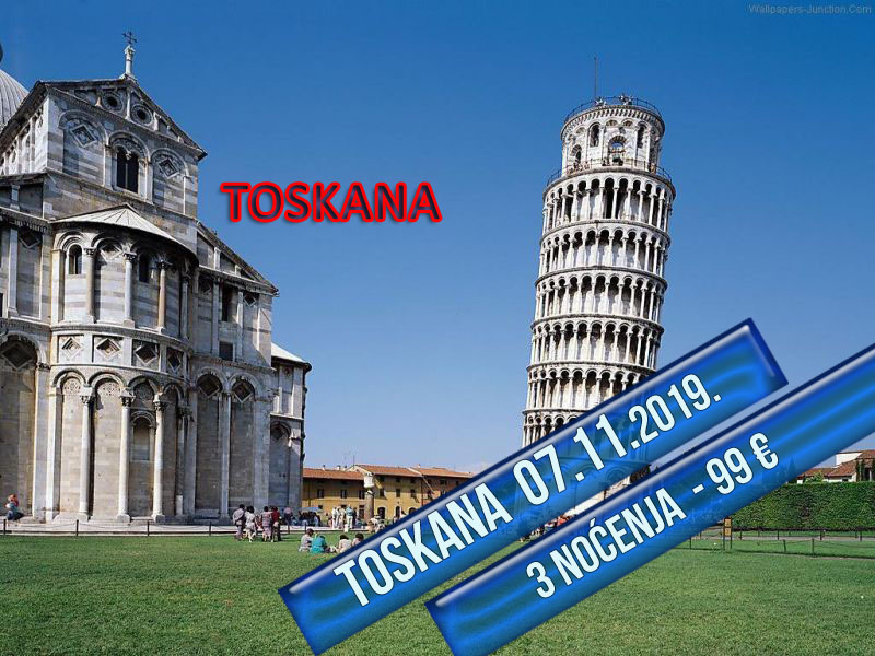 400 din. Vaučer kojim ostvarujete aranžman  agencijeOKTOPOD travel, za putovanje--TOSKANA - TOSKANA - 6 dana sa fakultativnim obilascima: Cinque Terre, Firenca, Sijena, San Điminjano Termini Cena aranžmana 09.10 - 14.10.2019. 99 euro 07.11 - 12.11.2019. 99 euro Toskanaje jedna od 20 regija Italije, nalazi se u njenom srediscaronnjem delu. Glavni grad je Firenca, a ostali značajni gradovi su Piza, Livorno, Prato, Sijena, Lukahellip Toskana je poznata i po zascarontićenim predelima i po velikom broju očuvanih starih gradova, zbog čega se na njenom tlu nalazi nekoliko mesta stavljeno na spisak bascarontine UNESKO-a, a sama regija je jedna od turistički najposećenijih u svetuhellip Firenca za Italijane, ali i ostatak zapadne Evrope ima veliki istorijski, obrazovni i kulturni značaj, pa je poznata i kao Italijanska Atina. Kao grad sa dobro očuvanim starim gradskim jezgrom i nizom vrednih građevina Firenca je i važno turističko odrediscaronte u Italiji. Stari deo Firence je pod zascarontitom UNESCO-a. Cinque Terre, neprilagođeni deo obale italijanske rivijere, nalazi se u oblasti Ligurija. Sastoji se pd pet malih naselja: Monterosso al Mare,Vernazza,Corniglia,Manarola, iRiomaggiore. Ovaj deo obale, pet gradića i brda u okolini su zajedno deo Cinque Terre Nacionalnog parka i ujedno su deoUNESCO Svetske bascarontine. PROGRAM PUTOVANJA: 1. dan (sreda) BEOGRAD ndash HRVATSKA - SLOVENIJA Polazak iz Beograda sa glavne autobuske stanice BAS, centar Beograda, ulaz iz Karađorđeve ulice u 17:00 h i iz Novog Sada u 18:30 h sa parkinga ispred Lokomotive. Lagana noćna vožnja preko Hrvatske i Slovenije uz usputna zadržavanja radi odmora i graničnih formalnostihellip 2. dan (četvrtak) BOLONJA ndash MONTEKATINI (ili neko drugo mesto u okolini Firence-Barberino di Muglellohellip) Prepodnevni dolazak uBolonju. Po dolasku obilazak grada: spomenik Neptunu, bazilika San Petronio, univerzitet, Due Tori, palata Banki, palata Notai, palata Akursio, trg Mađore... Slobodno vreme nakon obilaska. Na